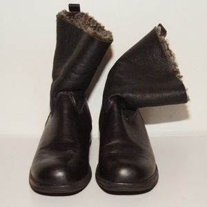 Wool lined black leather boots